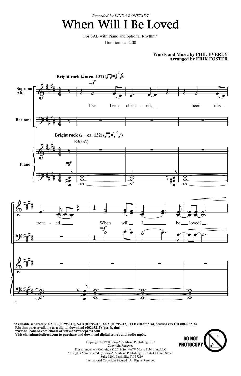 When Will I Be Loved (arr. Erik Foster) (SAB Choir)