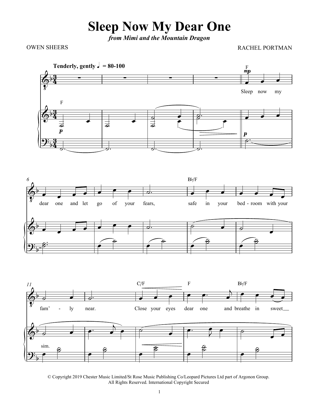 Sleep Now My Dear One (from Mimi and the Mountain Dragon) (Piano & Vocal)