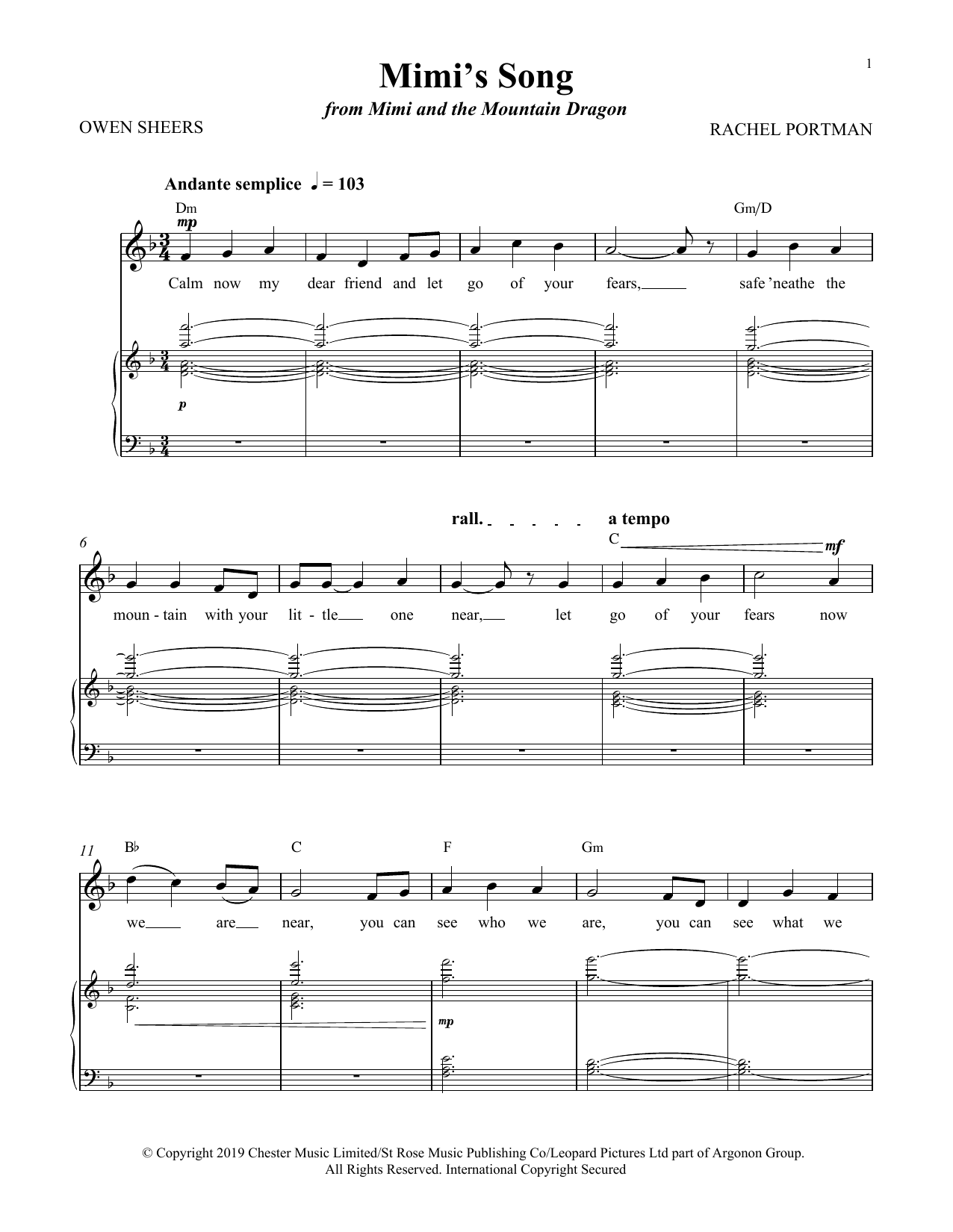 Mimi's Song (from Mimi and the Mountain Dragon) (Piano & Vocal)