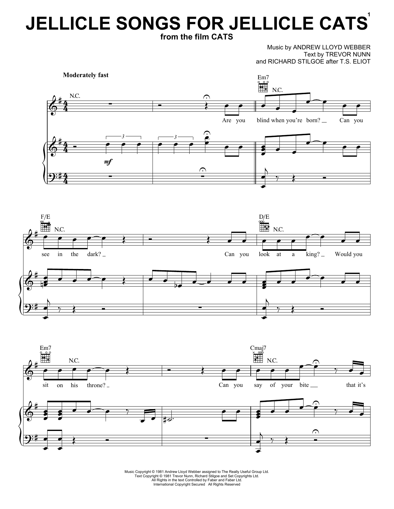 Jellicle Songs For Jellicle Cats (from the Motion Picture Cats) (Piano, Vocal & Guitar (Right-Hand Melody))