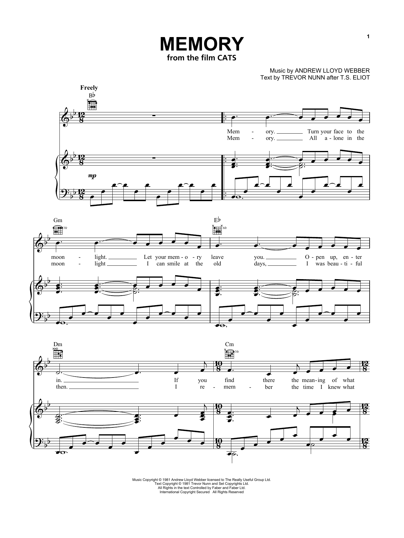 Memory (from the Motion Picture Cats) (Piano, Vocal & Guitar (Right-Hand Melody))