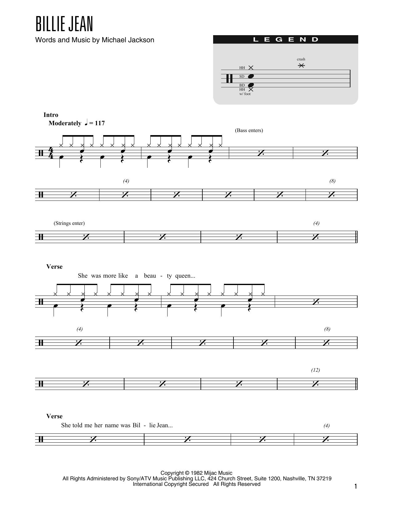 Billie Jean (arr. Kennan Wylie) (Drum Chart)