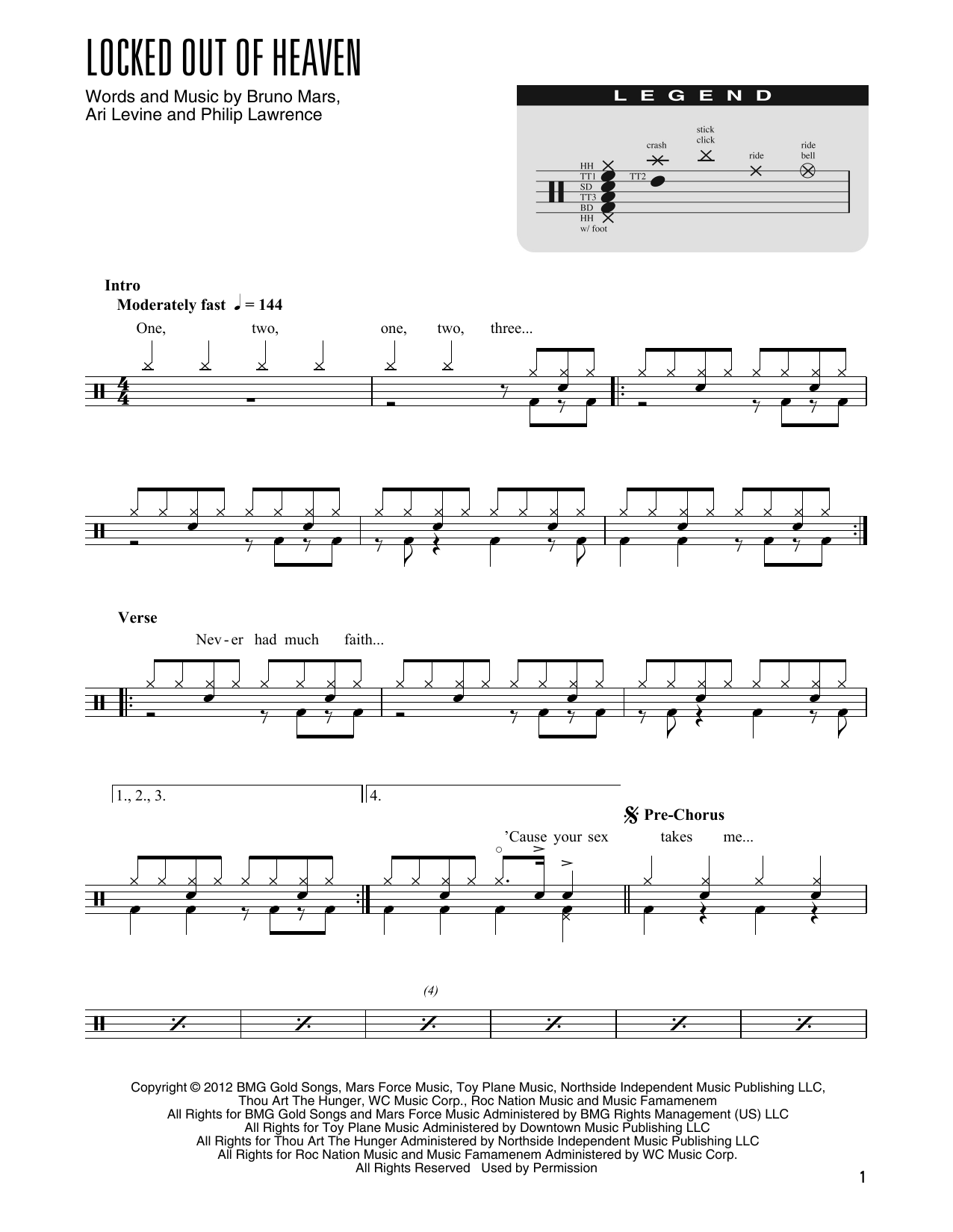Locked Out Of Heaven (arr. Kennan Wylie) (Drum Chart)