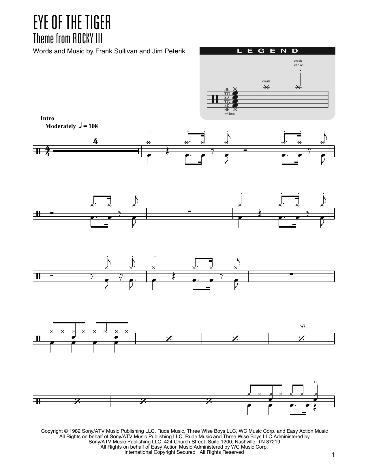 Eye Of The Tiger (arr. Kennan Wylie) (Drum Chart)