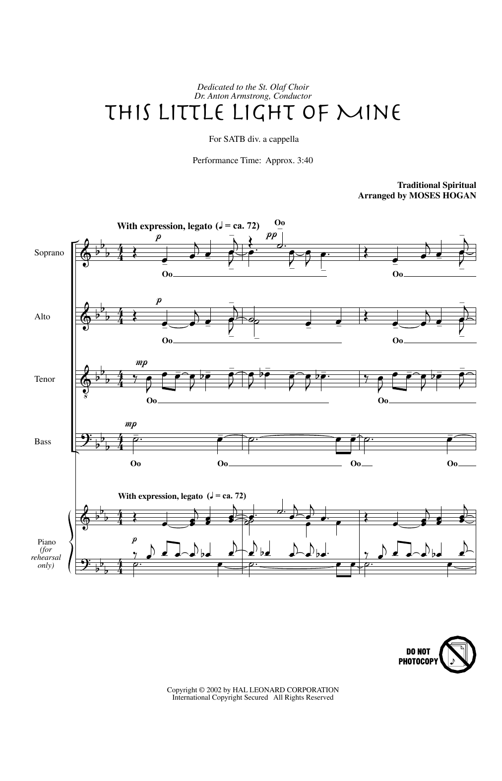 This Little Light Of Mine (arr. Moses Hogan) (SATB Choir)