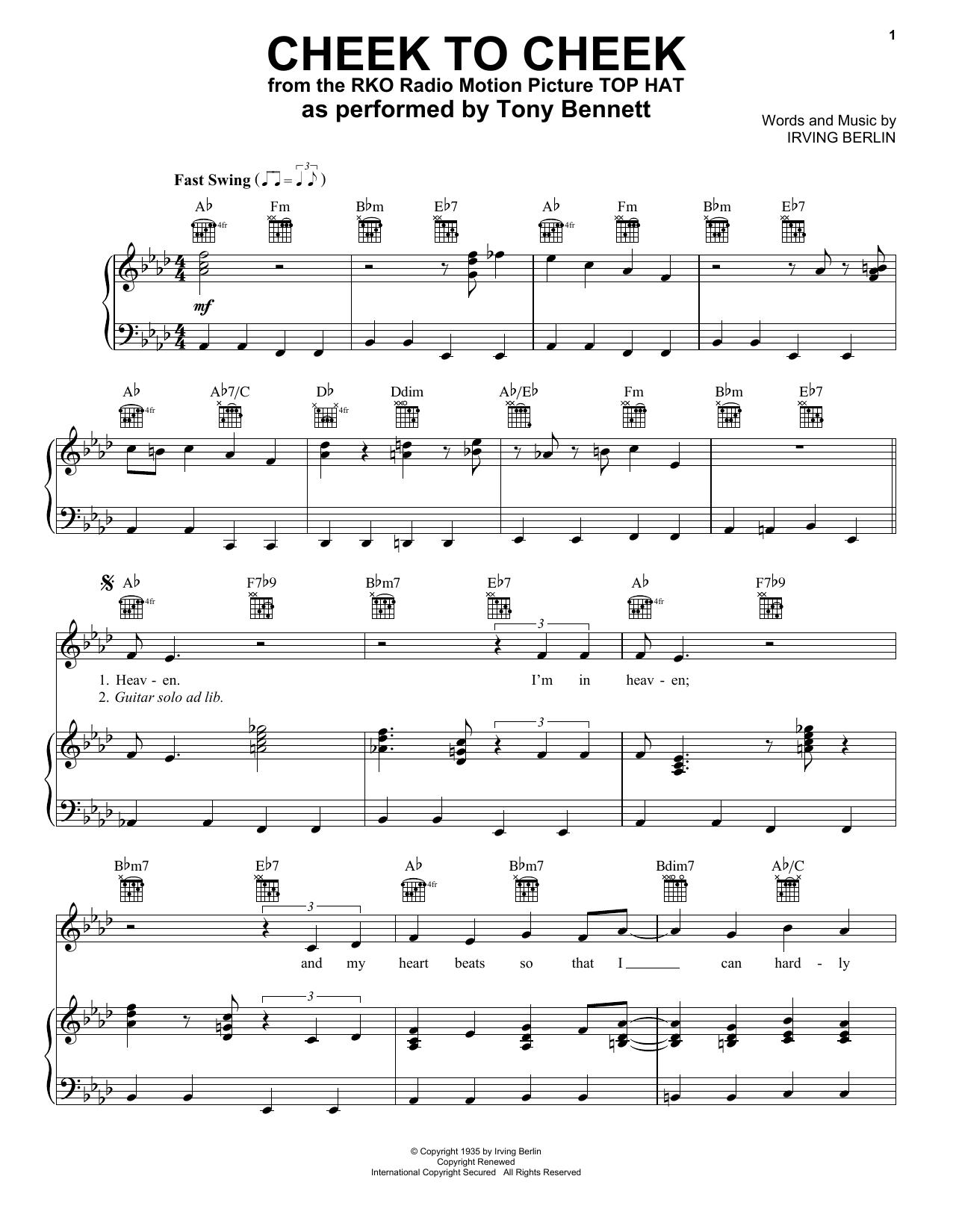 Cheek To Cheek (Piano, Vocal & Guitar (Right-Hand Melody))