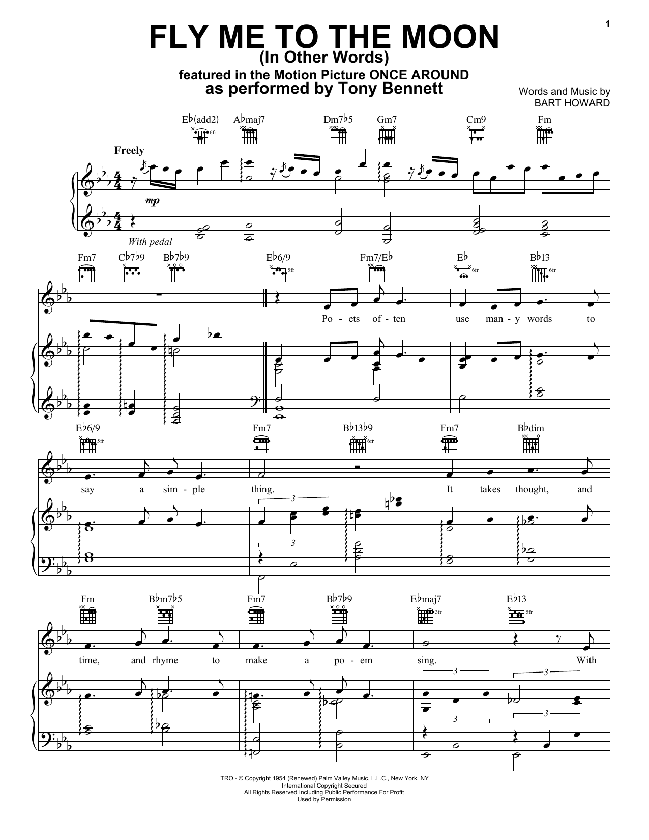 Fly Me To The Moon (In Other Words) (Piano, Vocal & Guitar (Right-Hand Melody))