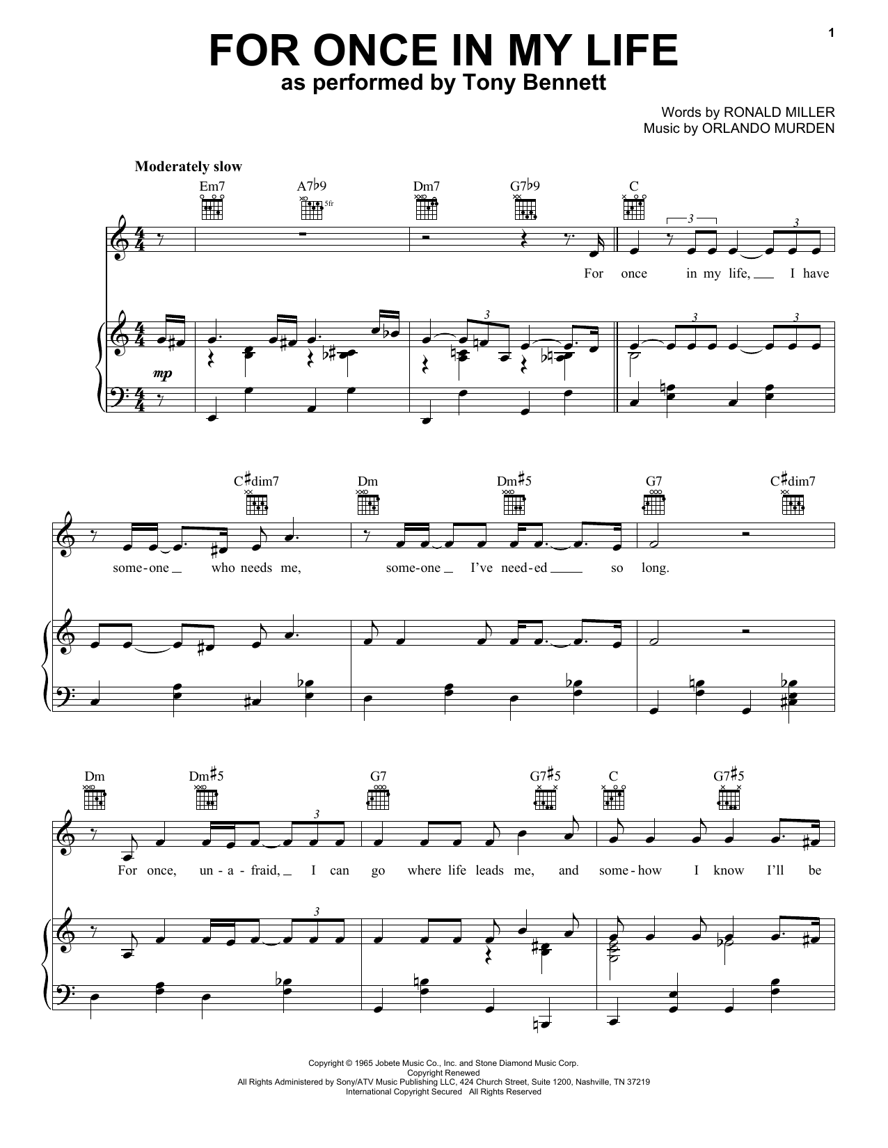For Once In My Life (Piano, Vocal & Guitar (Right-Hand Melody))