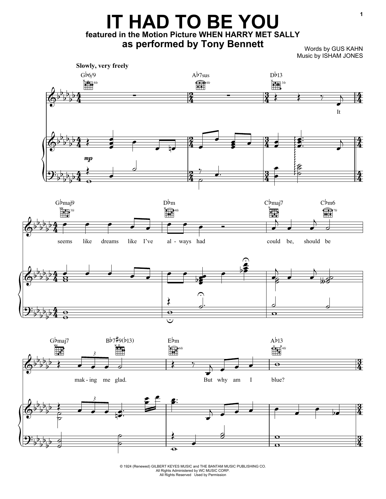 It Had To Be You (Piano, Vocal & Guitar (Right-Hand Melody))
