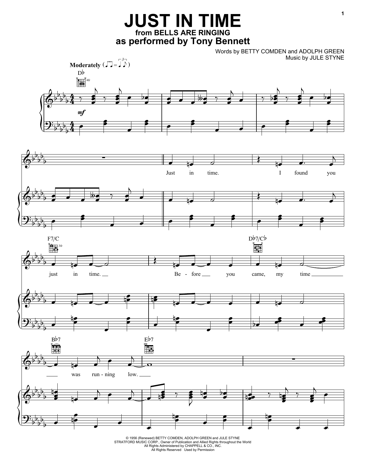 Just In Time (Piano, Vocal & Guitar (Right-Hand Melody))