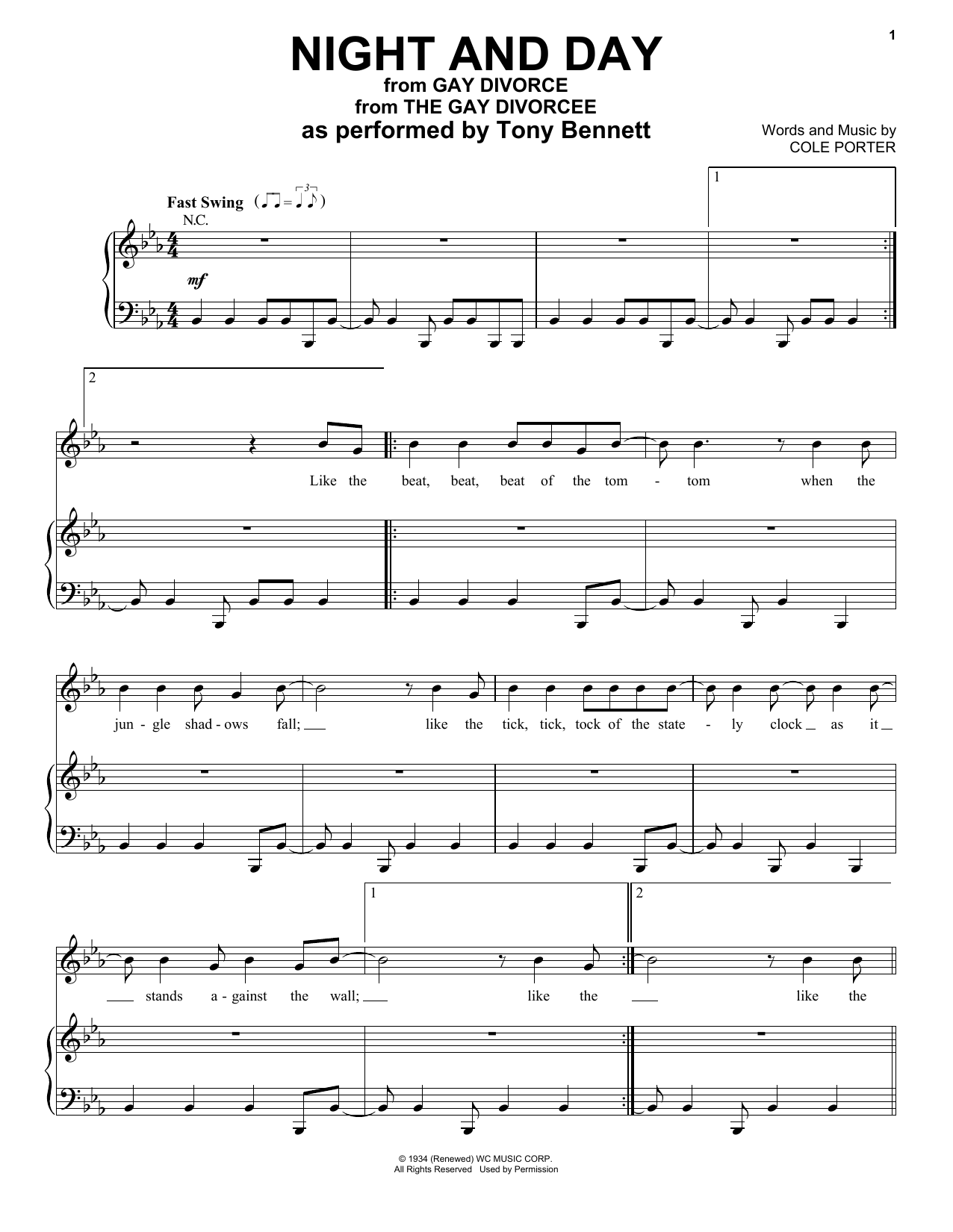 Night And Day (Piano, Vocal & Guitar (Right-Hand Melody))