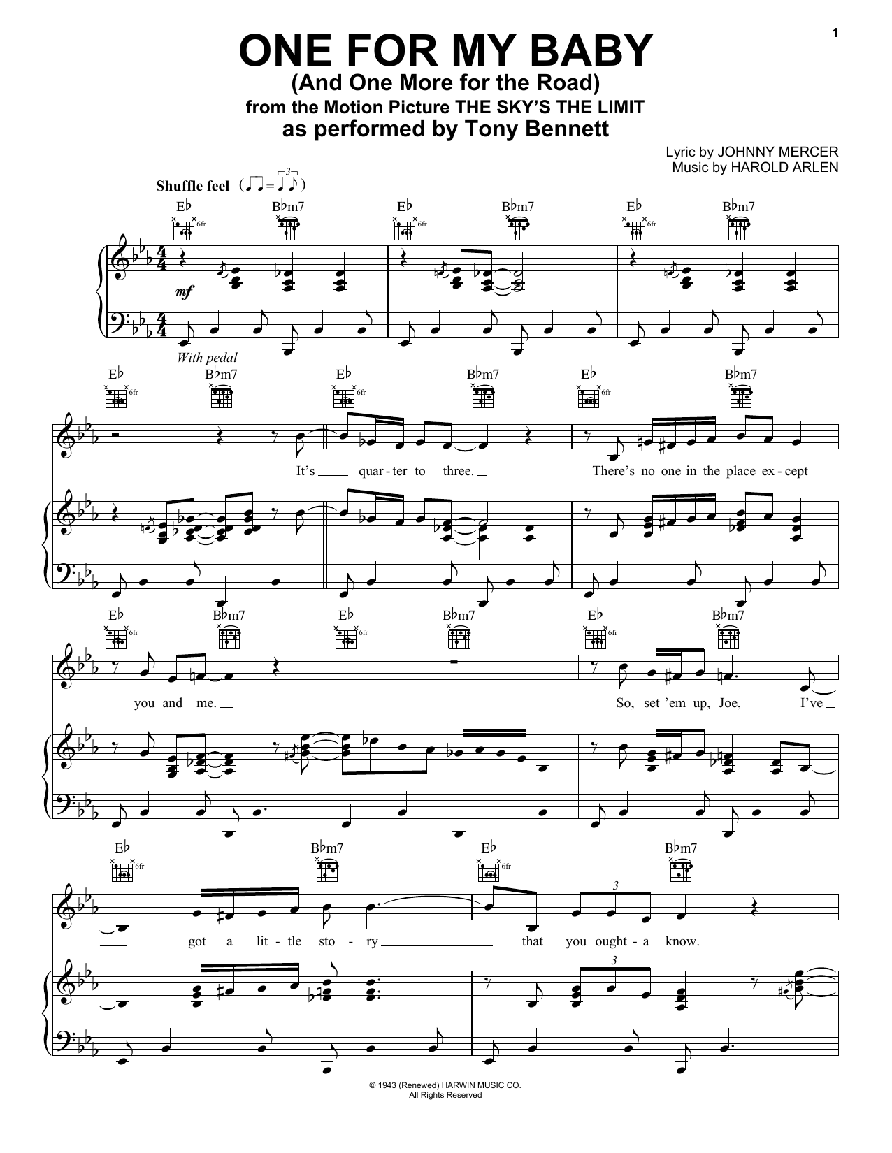One For My Baby (And One More For The Road) (Piano, Vocal & Guitar (Right-Hand Melody))