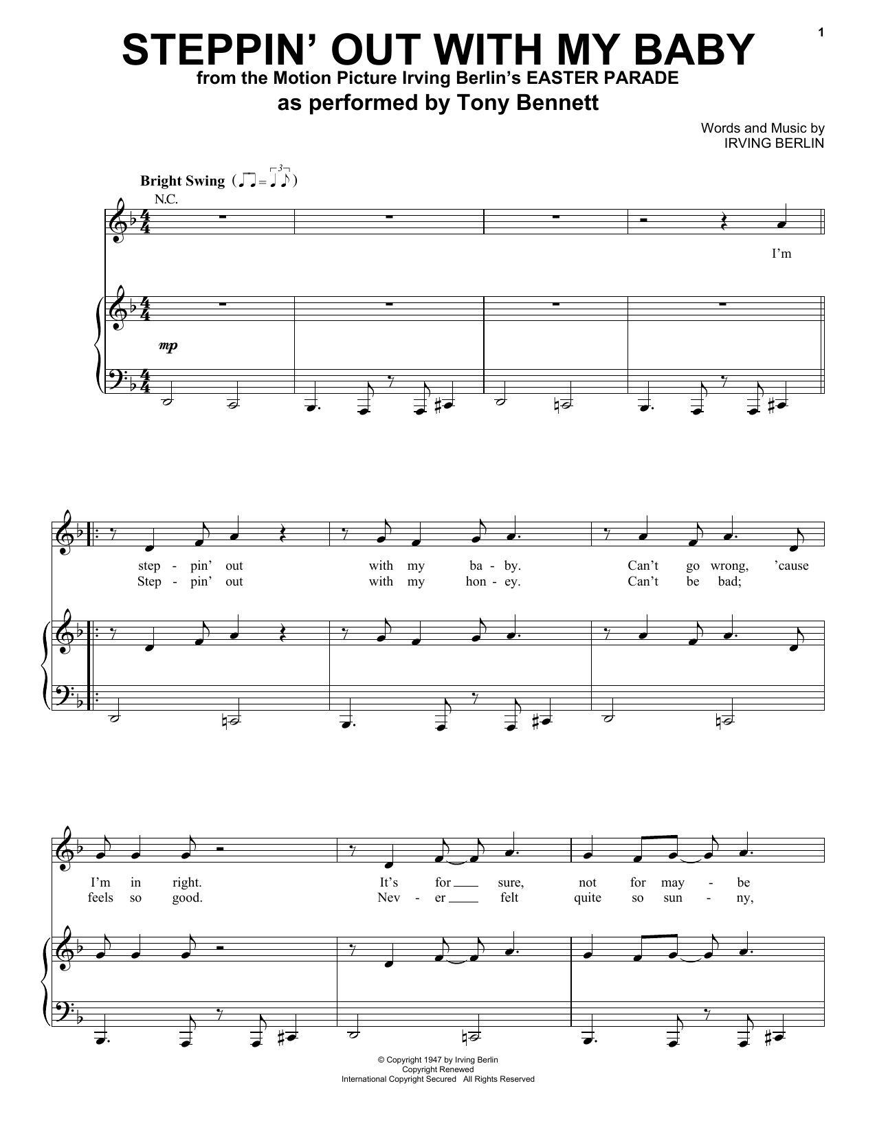 Steppin' Out With My Baby (Piano, Vocal & Guitar (Right-Hand Melody))