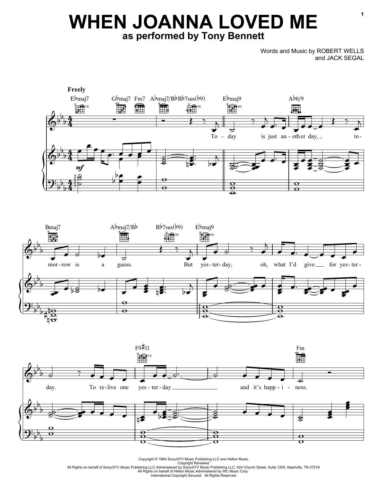 When Joanna Loved Me (Piano, Vocal & Guitar (Right-Hand Melody))