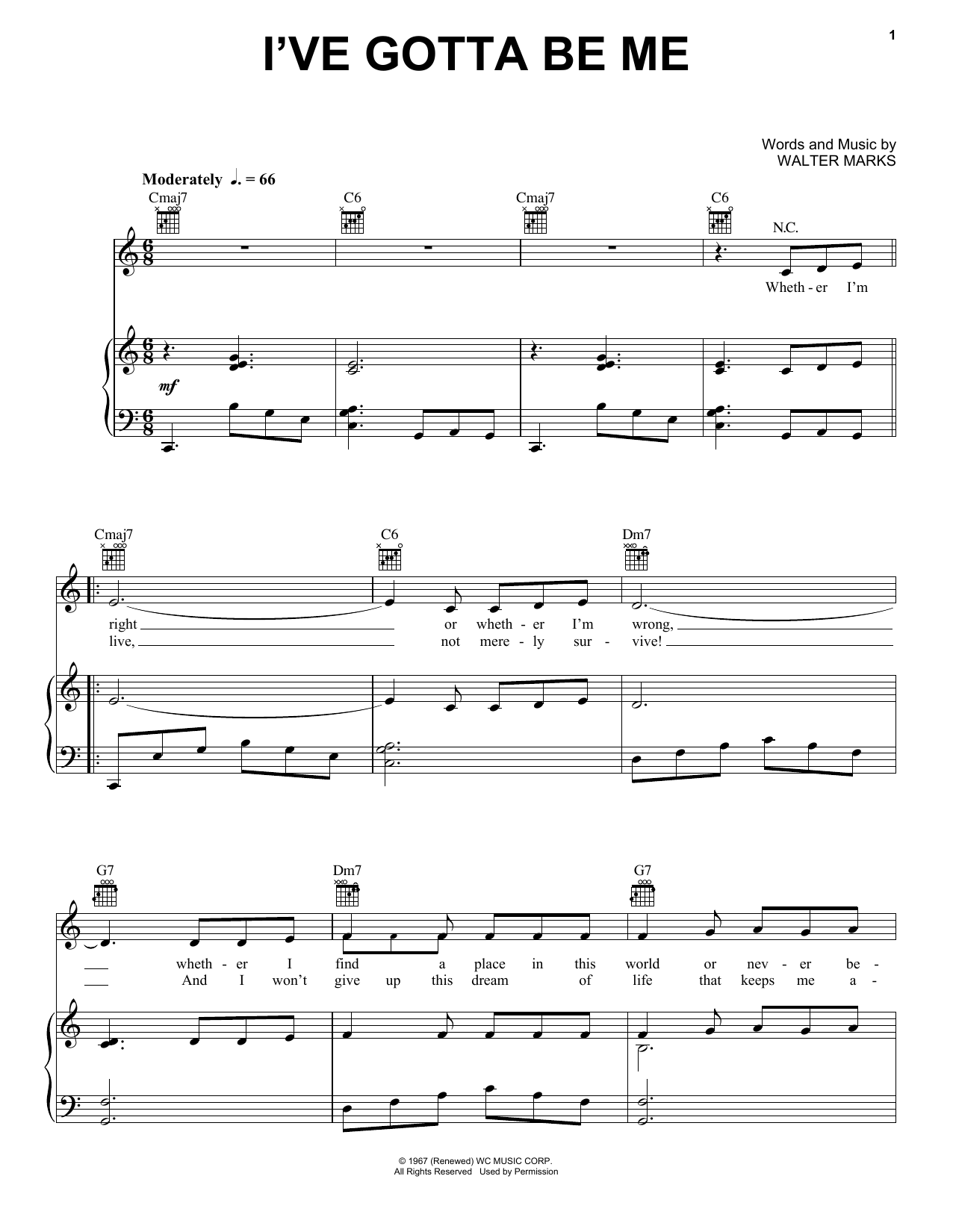 I've Gotta Be Me (Piano, Vocal & Guitar (Right-Hand Melody))