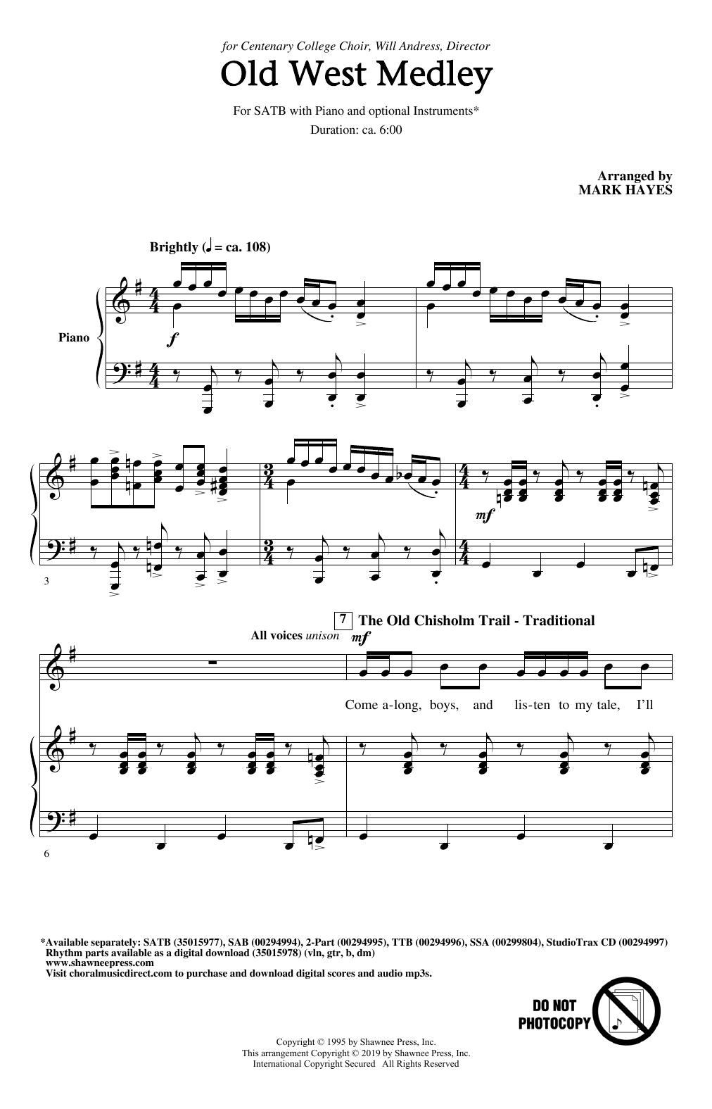 Old West Medley (arr. Mark Hayes) (SATB Choir)