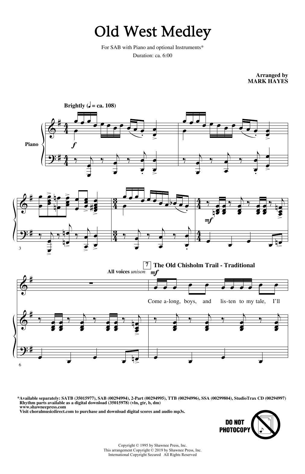 Old West Medley (arr. Mark Hayes) (SAB Choir)