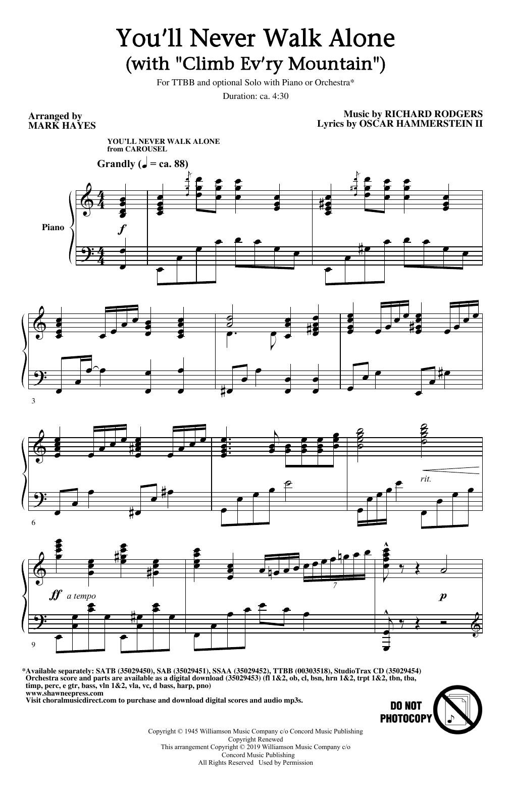 """You'll Never Walk Alone (with """"Climb Ev'ry Mountain"""") (arr. Mark Hayes) (TTBB Choir)"""