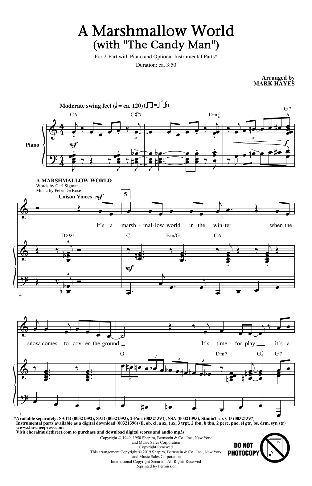 """A Marshmallow World (with """"The Candy Man"""") (2-Part Choir)"""