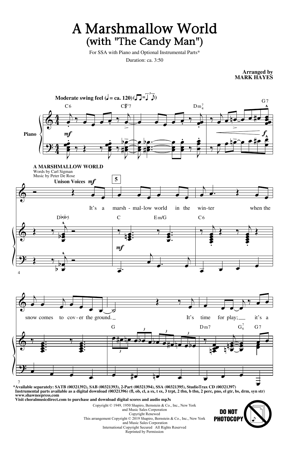 """A Marshmallow World (with """"The Candy Man"""") (SSA Choir)"""
