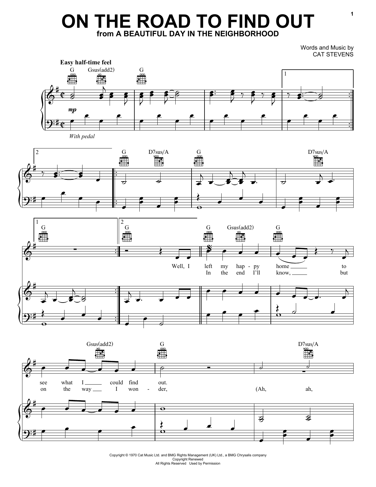 On The Road To Find Out (from A Beautiful Day in the Neighborhood) (Piano, Vocal & Guitar (Right-Hand Melody))