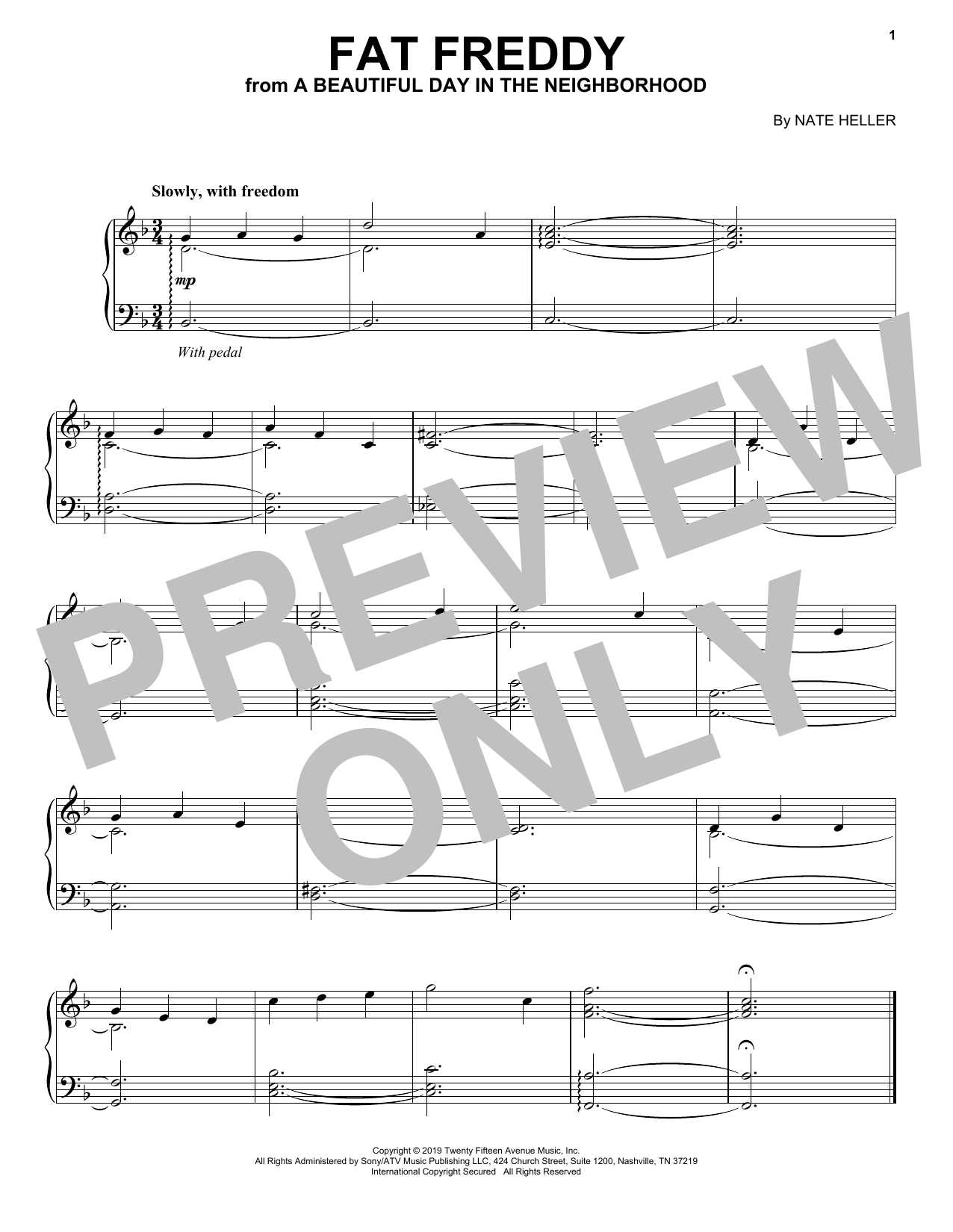 Fat Freddy (from A Beautiful Day in the Neighborhood) (Piano Solo)