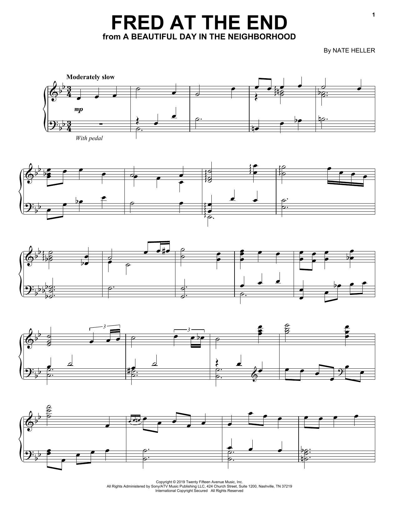 Fred At The End (from A Beautiful Day in the Neighborhood) (Piano Solo)