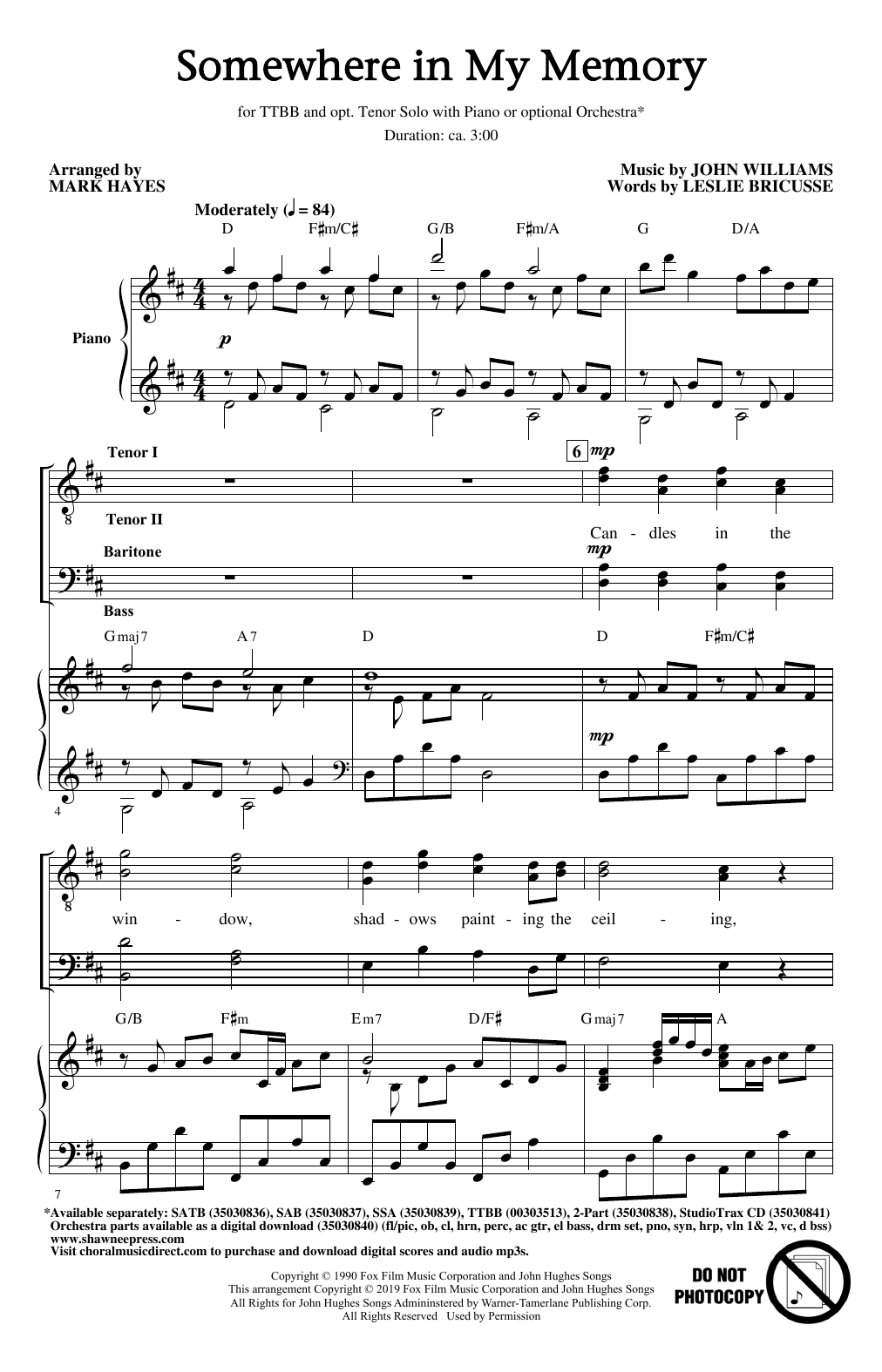 Somewhere In My Memory (from Home Alone) (arr. Mark Hayes) (TTBB Choir)