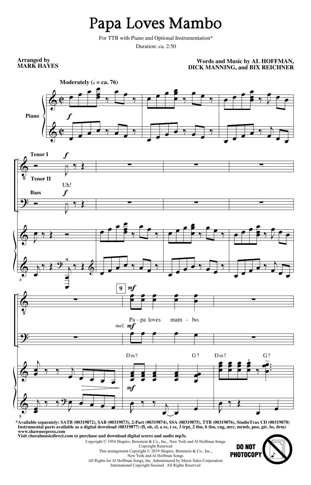 Papa Loves Mambo (arr. Mark Hayes) (TTBB Choir)