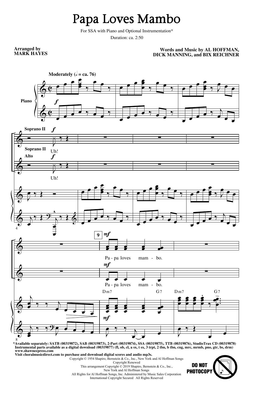Papa Loves Mambo (arr. Mark Hayes) (SSA Choir)