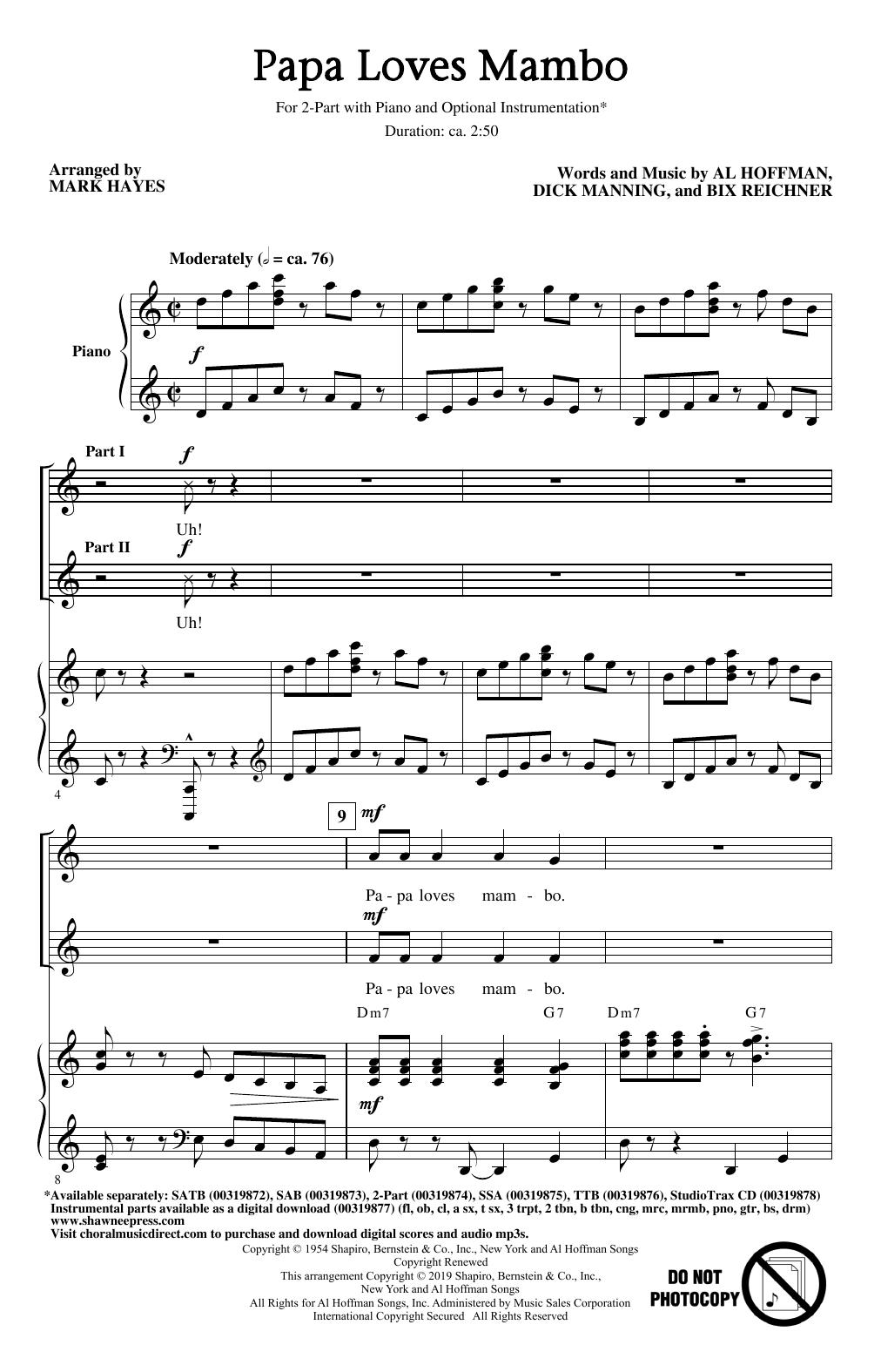 Papa Loves Mambo (arr. Mark Hayes) (2-Part Choir)