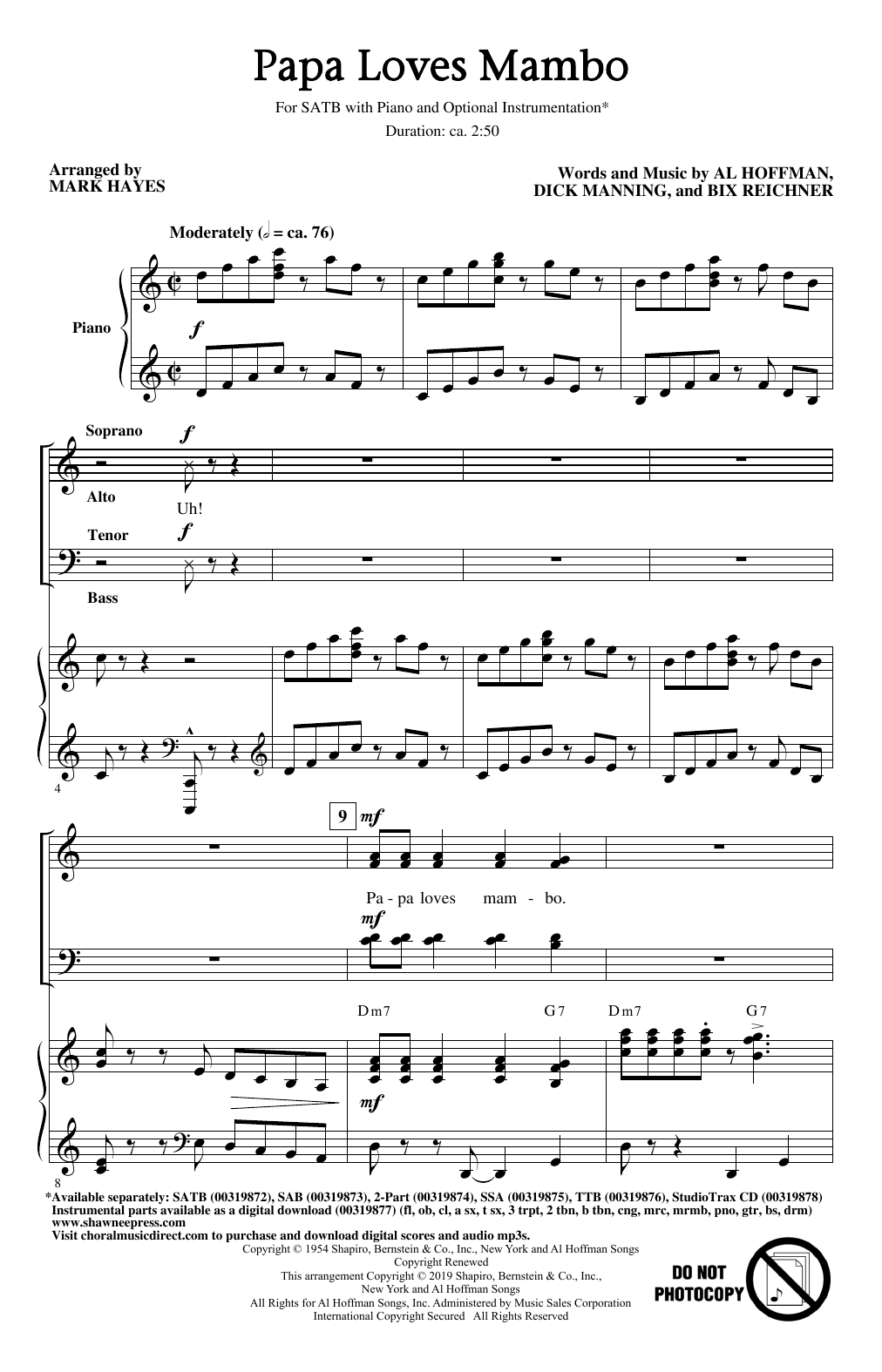 Papa Loves Mambo (arr. Mark Hayes) (SATB Choir)