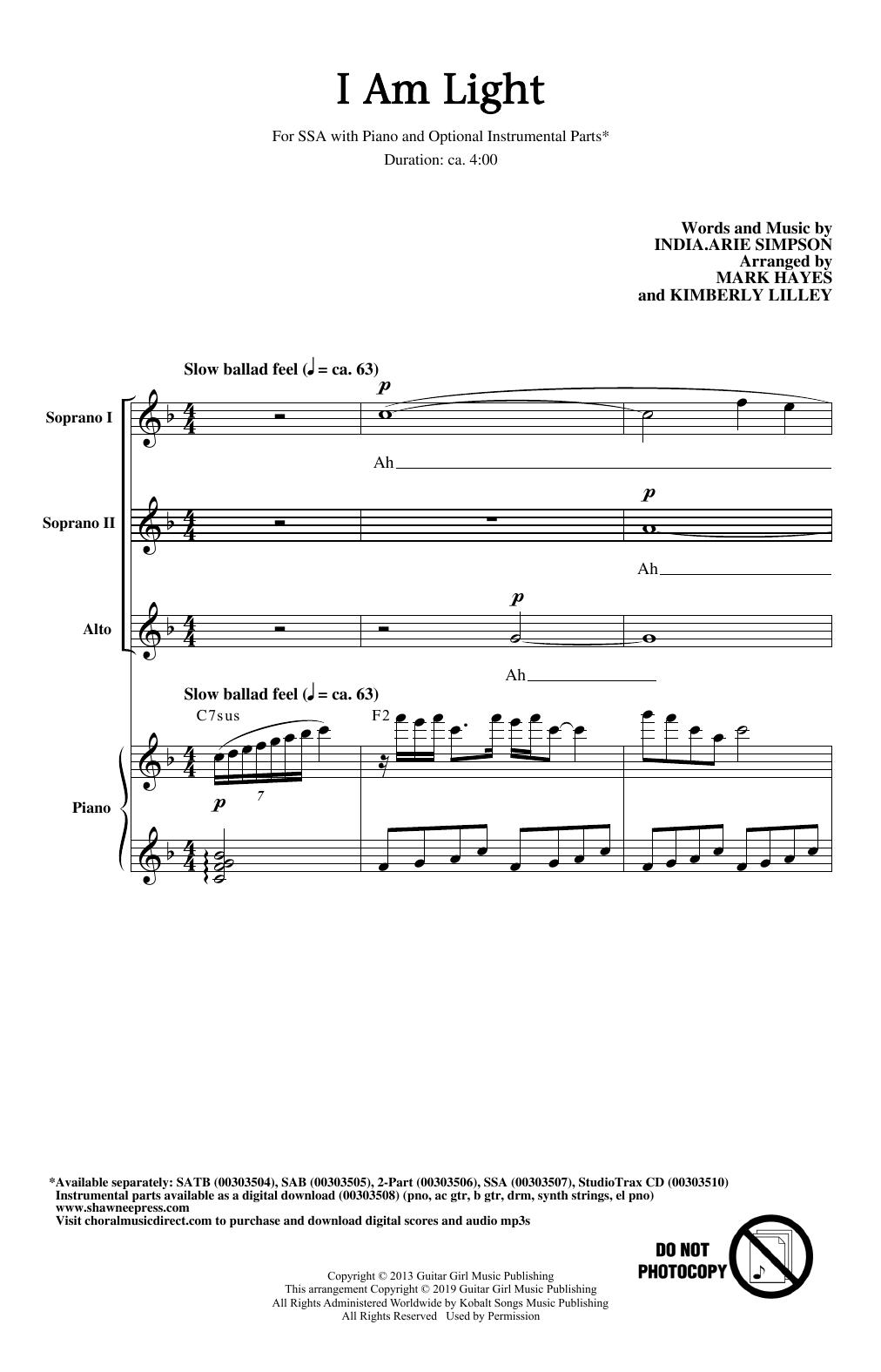 I Am Light (arr. Mark Hayes and Kimberly Lilley) (SSA Choir)