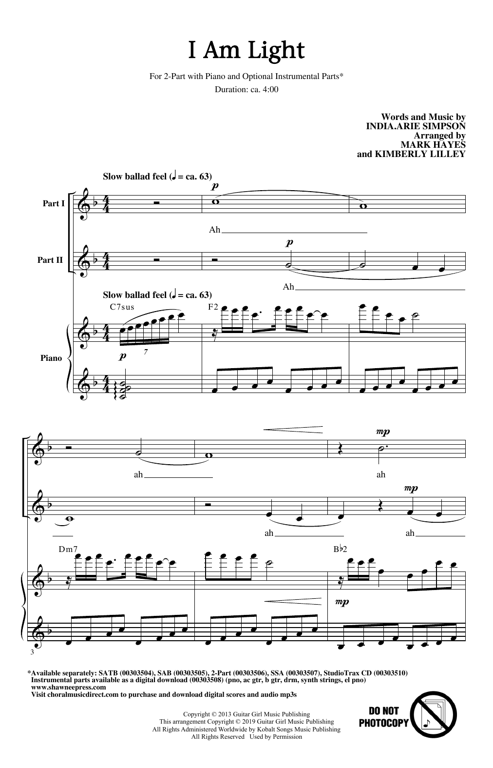 I Am Light (arr. Mark Hayes and Kimberly Lilley) (2-Part Choir)