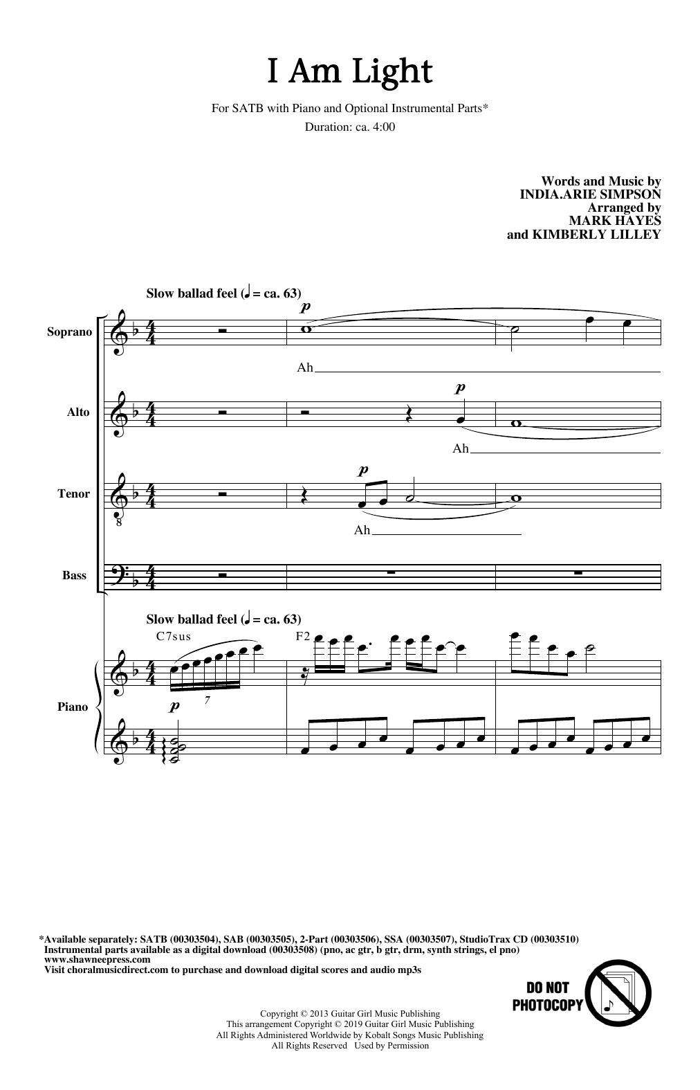 I Am Light (arr. Mark Hayes and Kimberly Lilley) (SATB Choir)