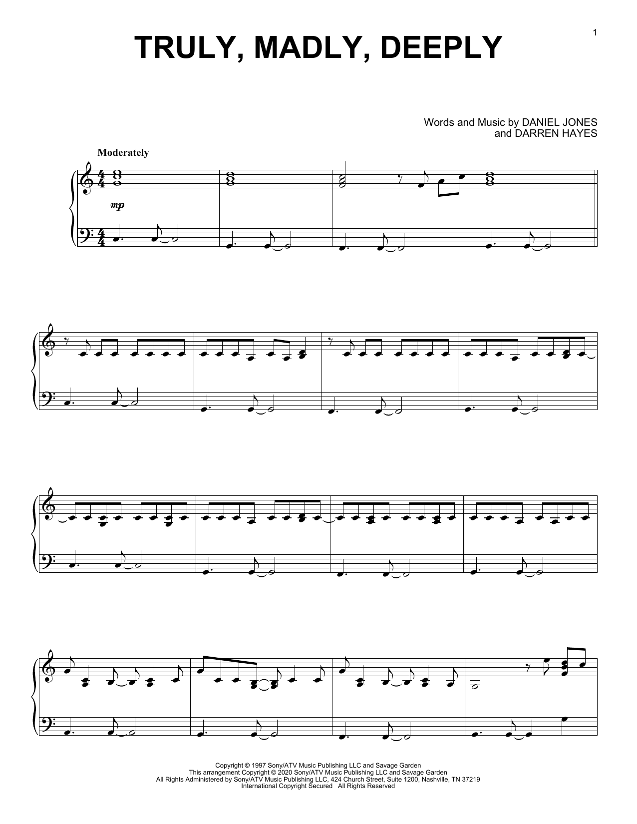 Truly, Madly, Deeply (Piano Solo)