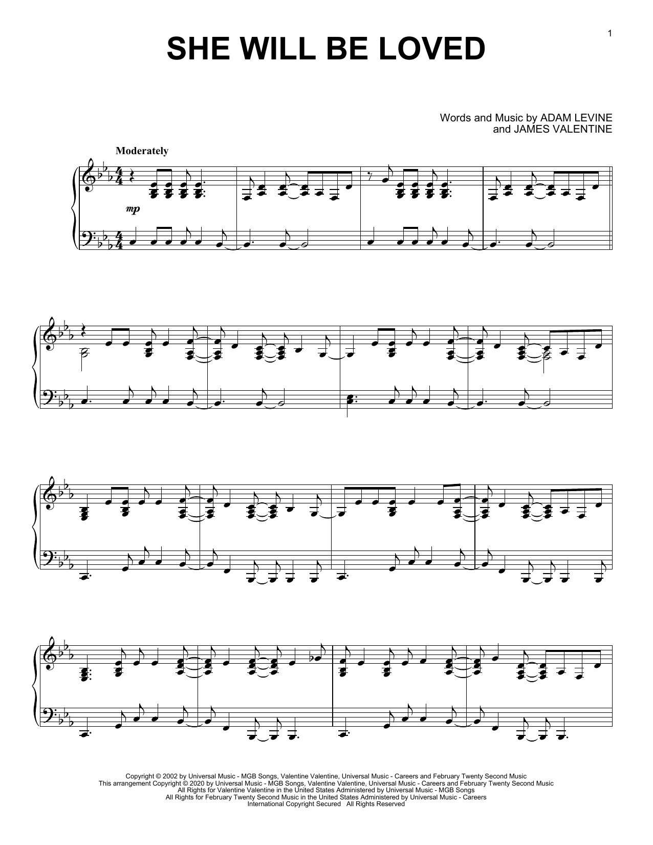 She Will Be Loved (Piano Solo)