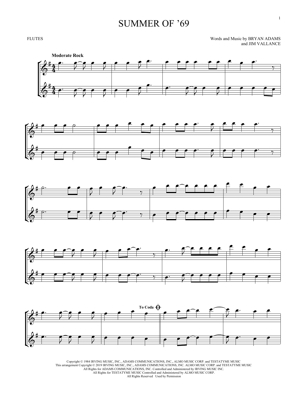 Summer Of '69 (Flute Duet)