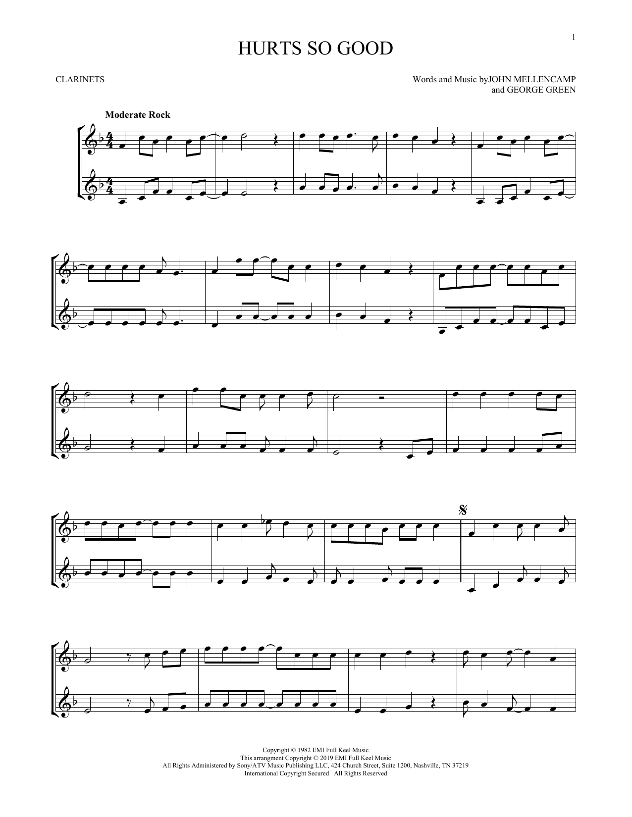 Hurts So Good (Clarinet Duet)