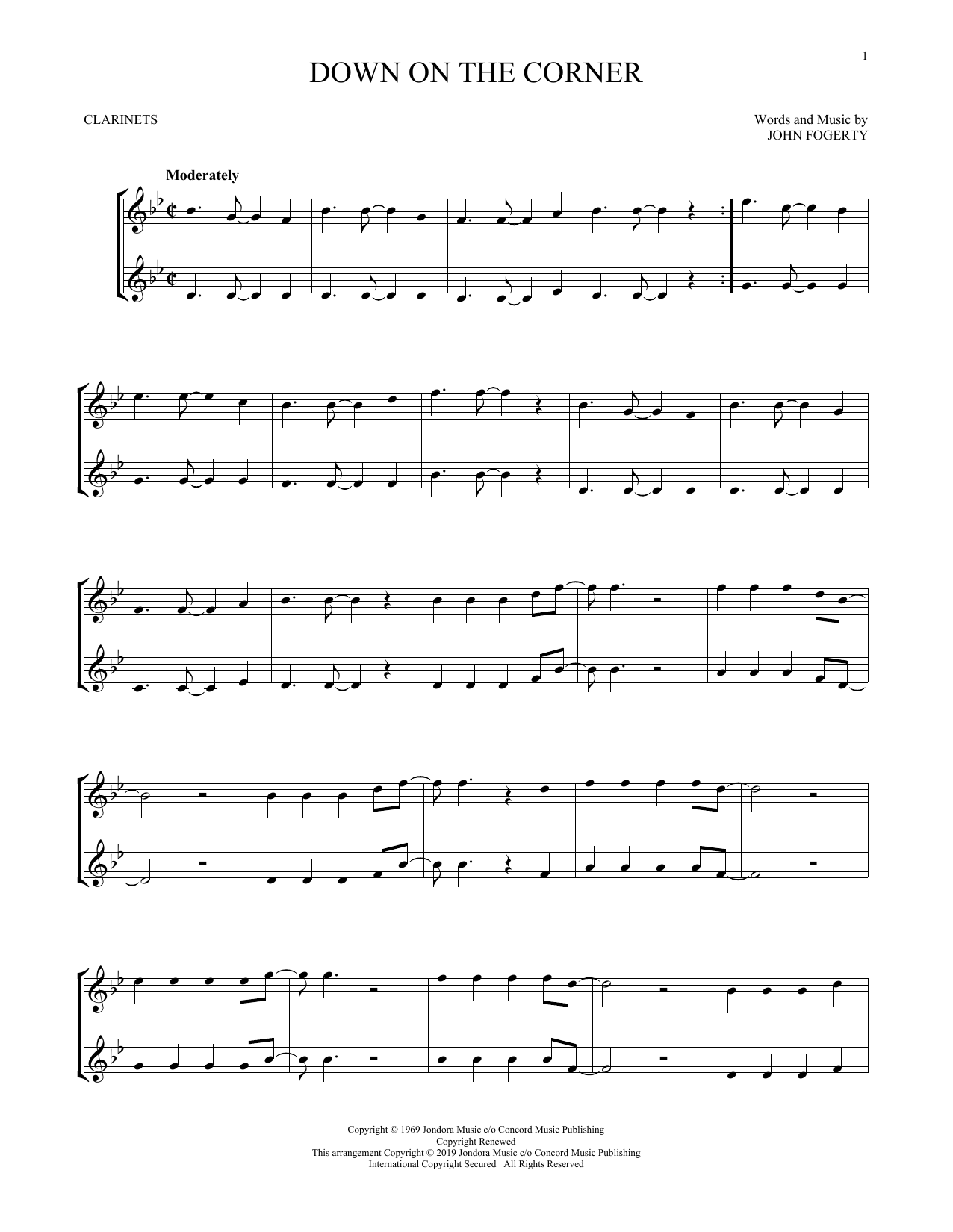 Down On The Corner (Clarinet Duet)