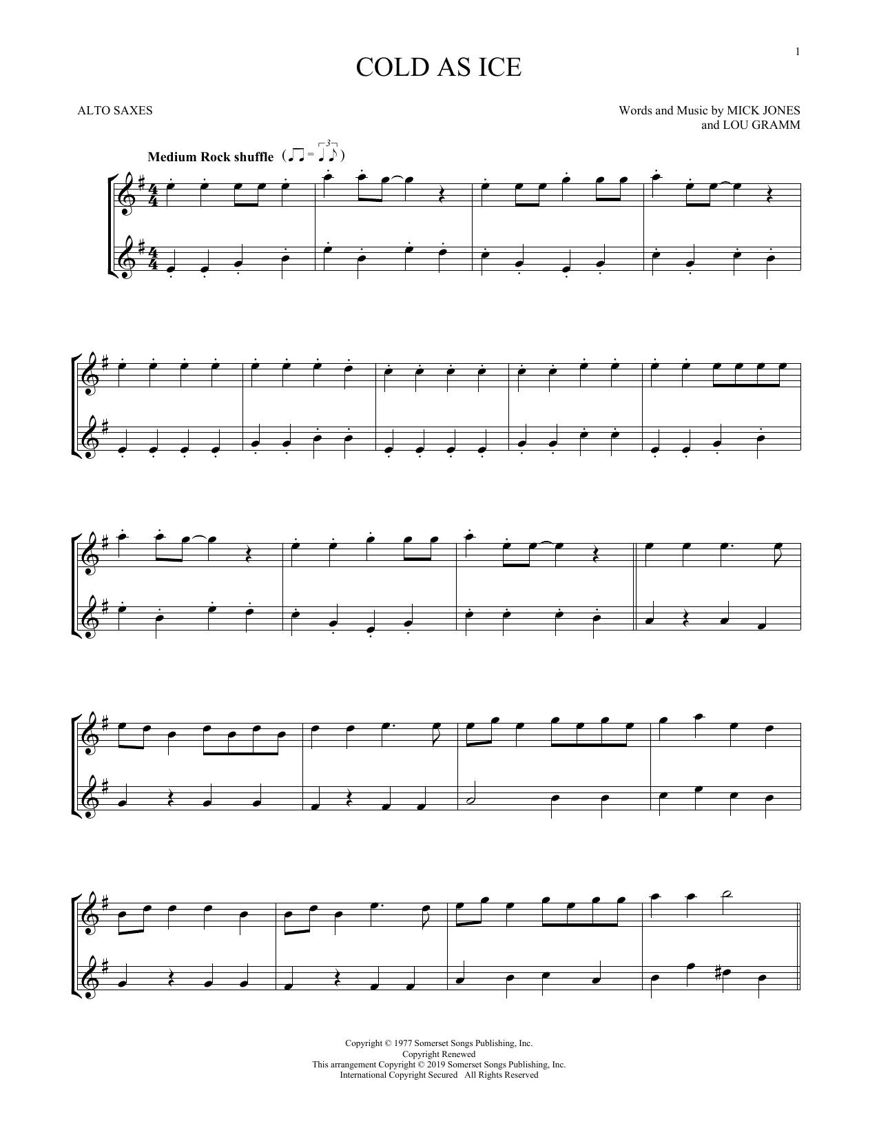 Cold As Ice (Alto Sax Duet)