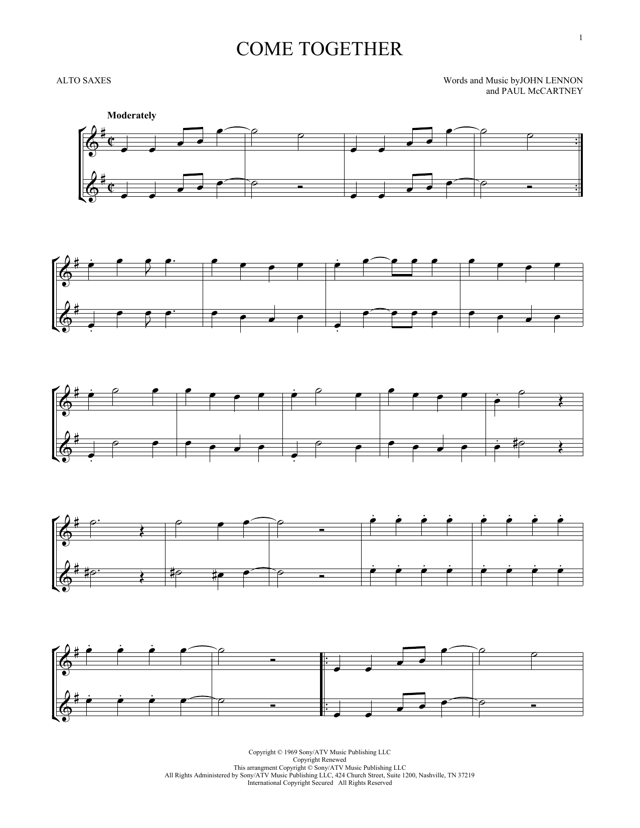 Come Together (Alto Sax Duet)