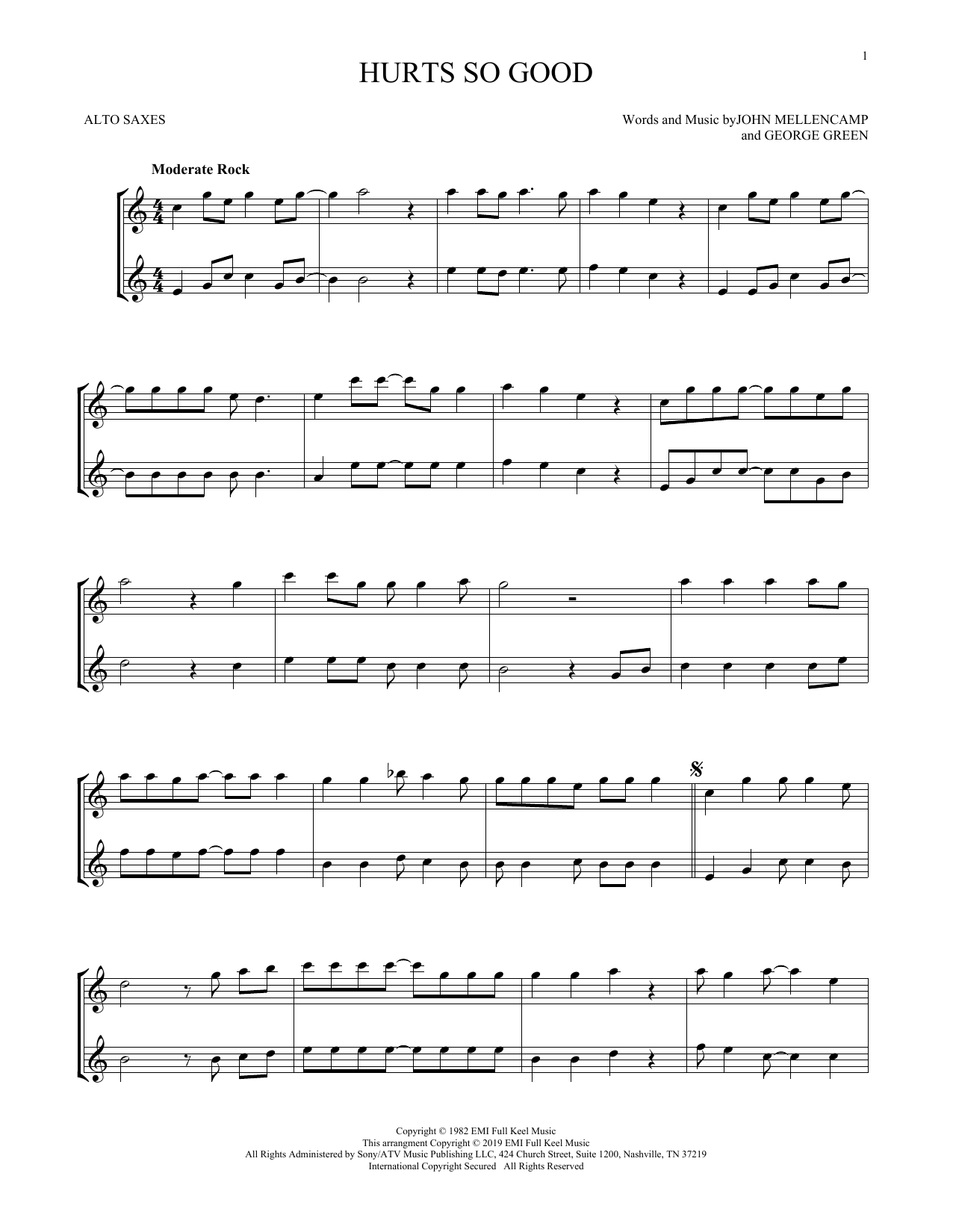 Hurts So Good (Alto Sax Duet)