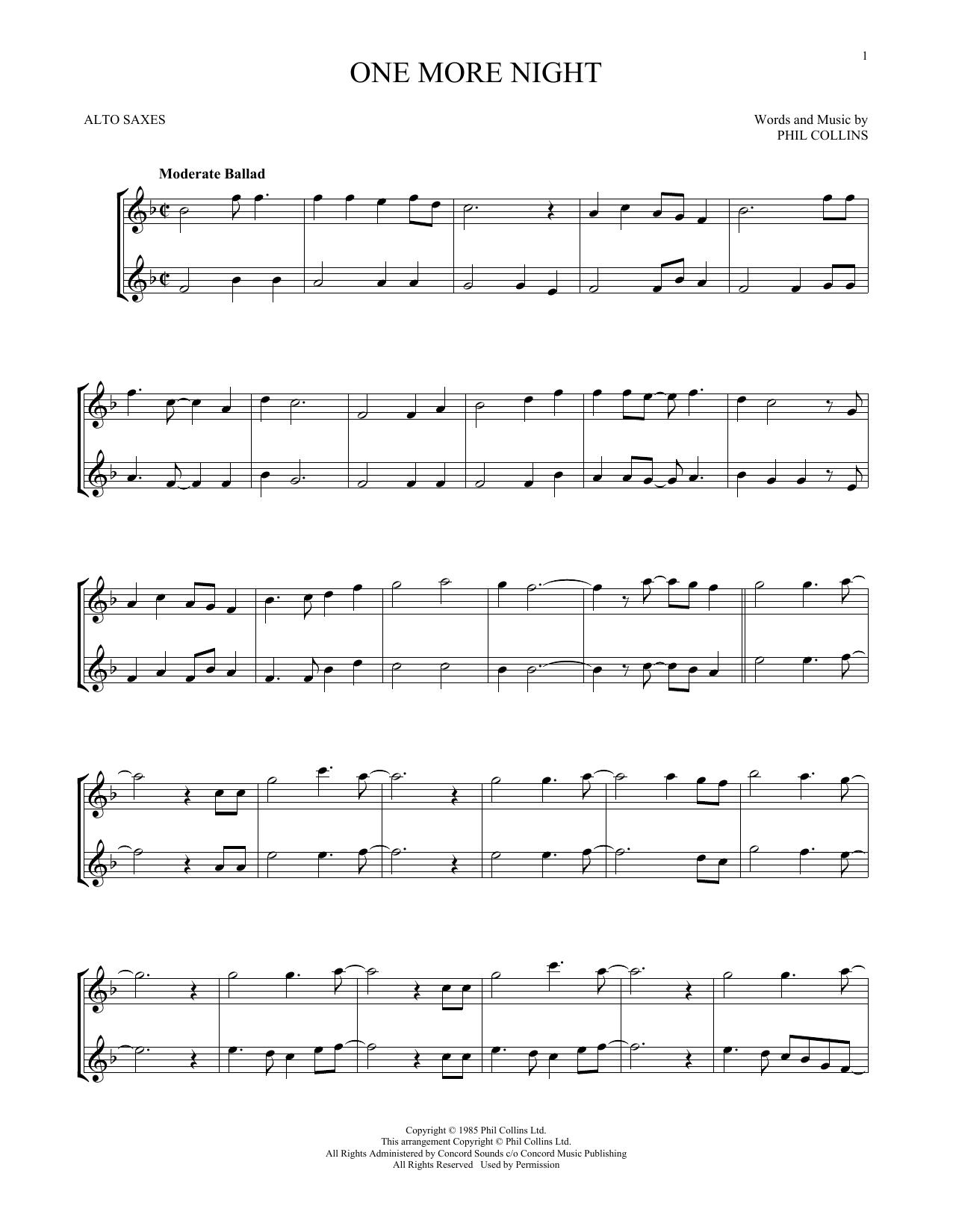 One More Night (Alto Sax Duet)