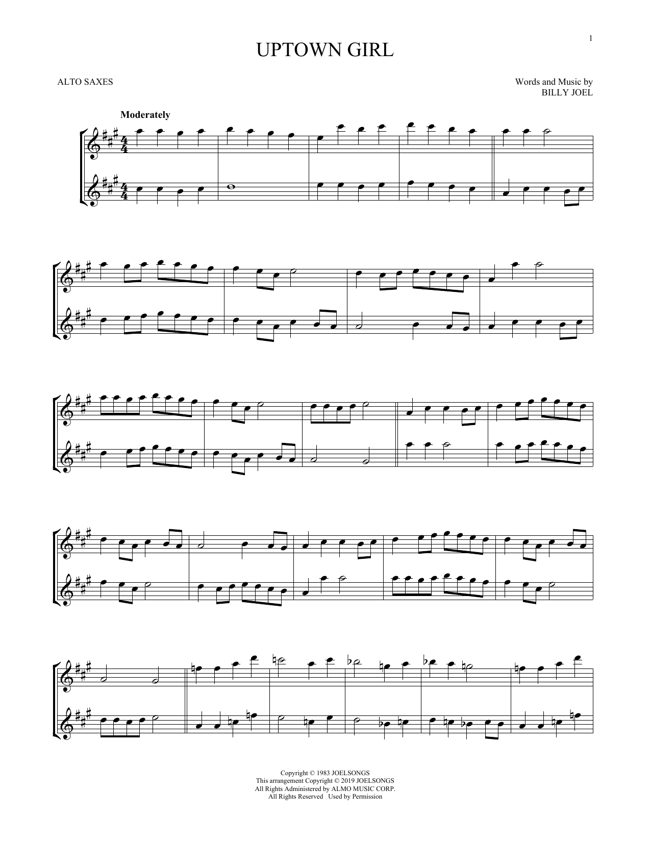 Uptown Girl (Alto Sax Duet)