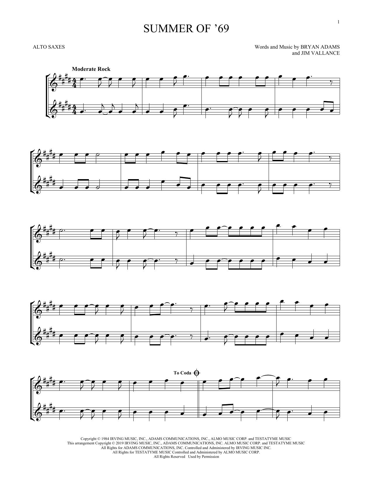 Summer Of '69 (Alto Sax Duet)