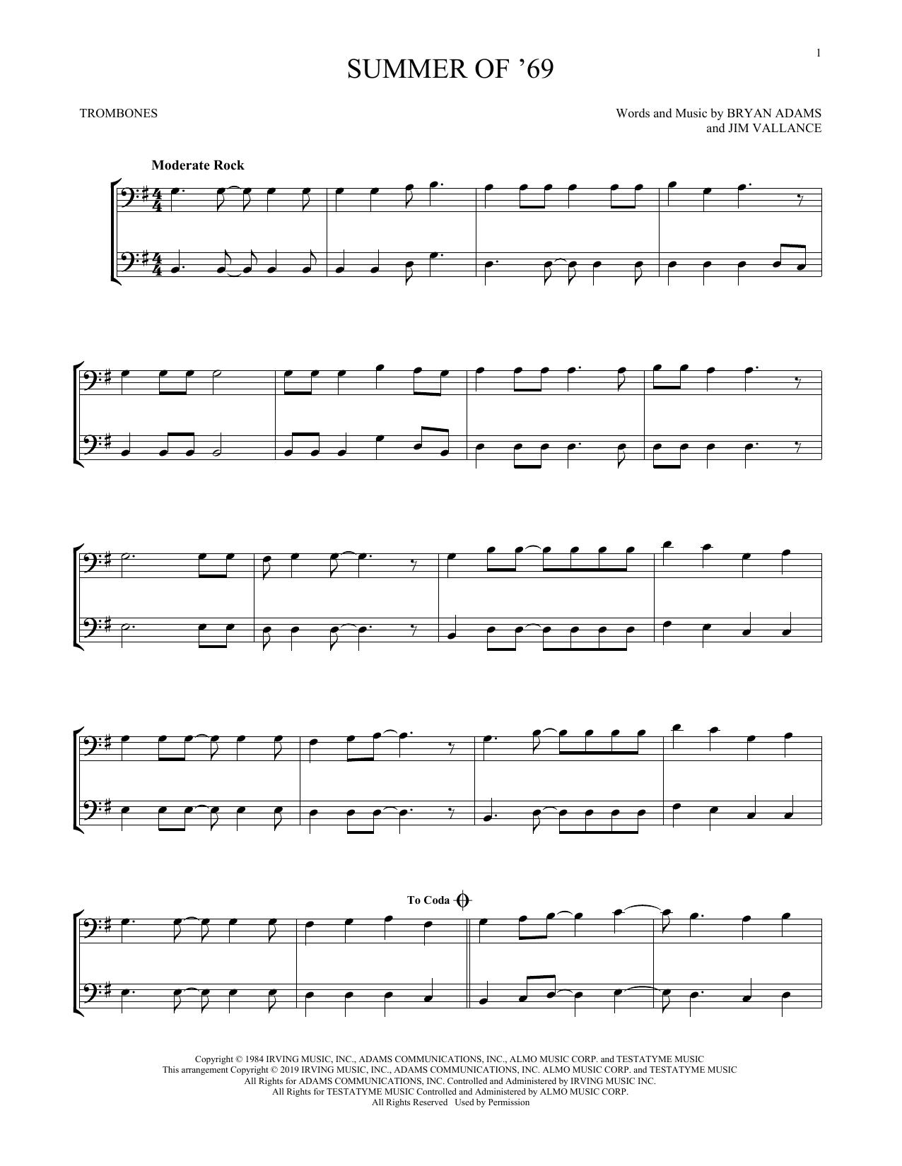 Summer Of '69 (Trombone Duet)
