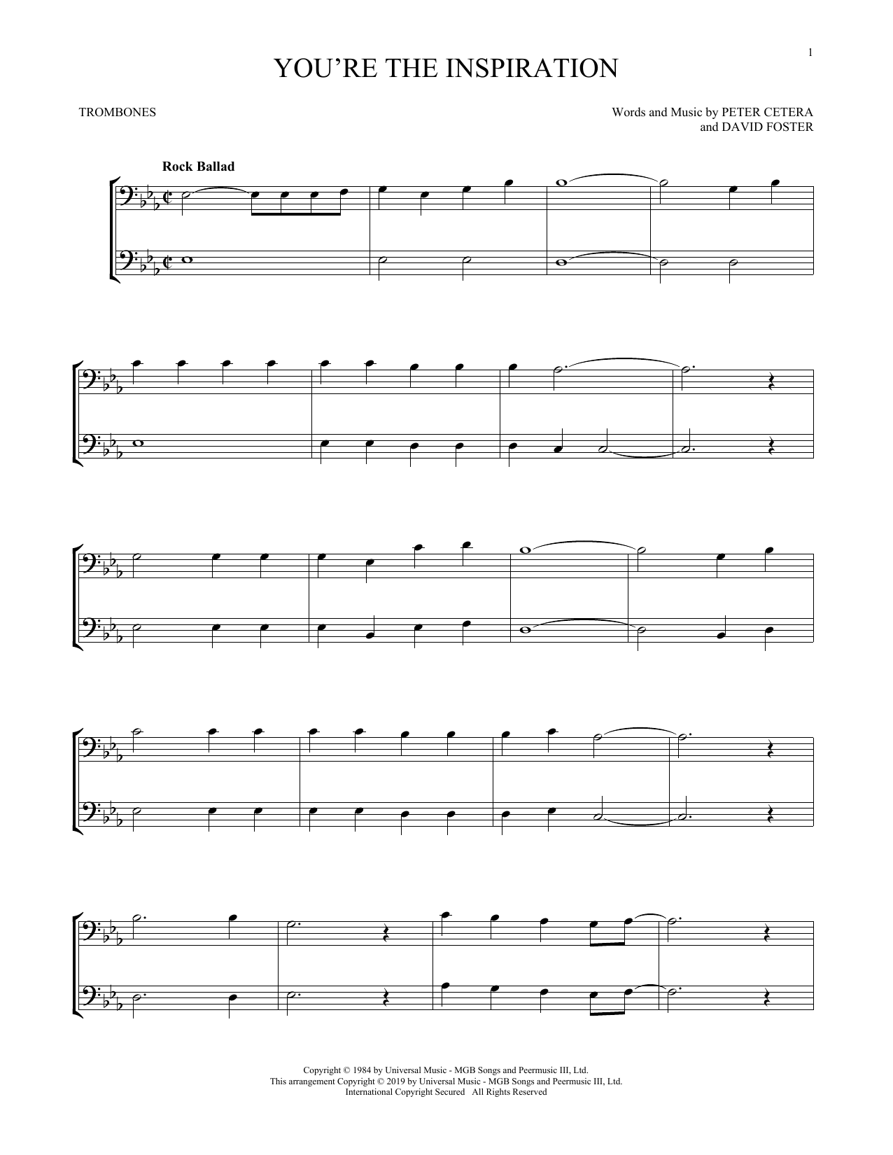 You're The Inspiration (Trombone Duet)