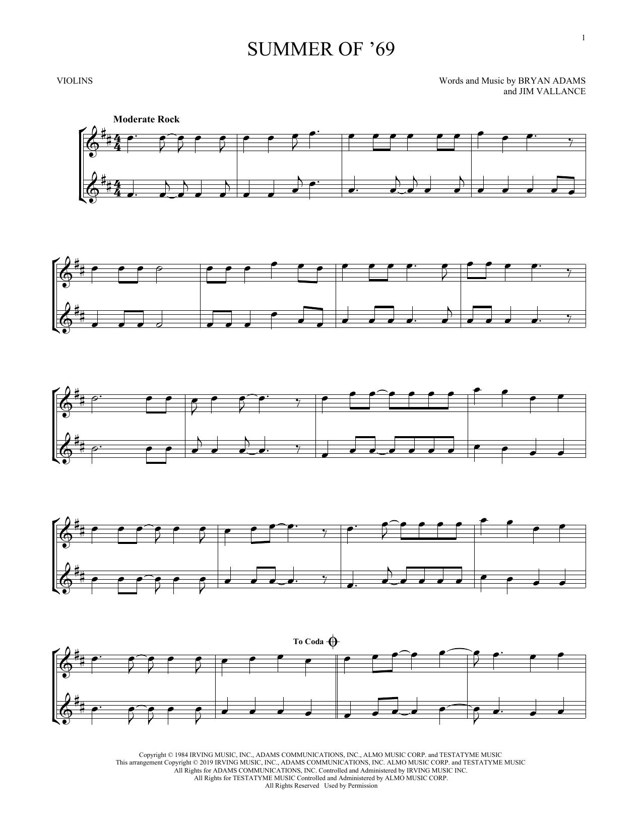 Summer Of '69 (Violin Duet)