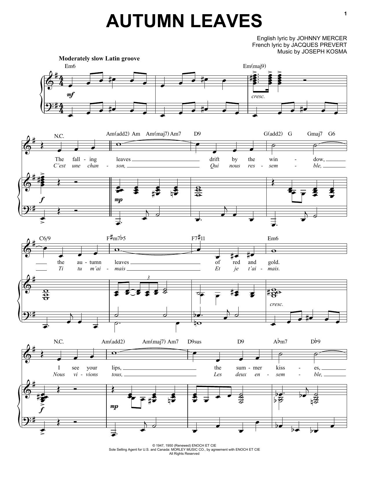 Autumn Leaves [Jazz version] (arr. Brent Edstrom) (Piano & Vocal)